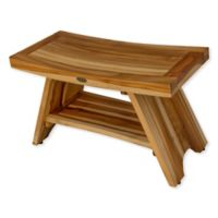 EcoDecors™ Serenity 29-Inch Teak Shower Bench with Shelf in Natural