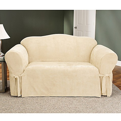 Sure Fit 174 Soft Suede Loveseat Furniture Cover Bed Bath
