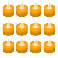 Flameless LED Tealights in Orange (Set of 12)