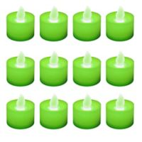 LED Battery Operated Tealight Candles in Green (Set of 12)