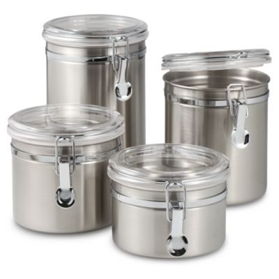 High Quality Oggi™ Airtight Stainless Steel Canisters With Acrylic Tops (Set Of 4)