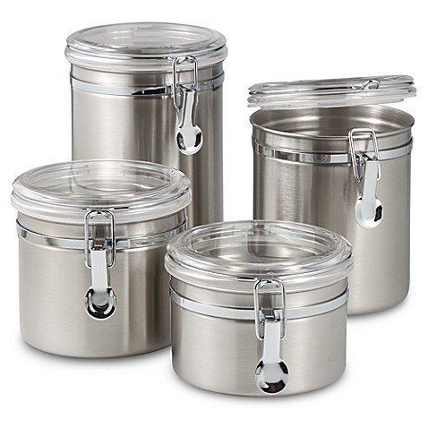 stainless steel kitchen canister oggi airtight stainless steel canisters with acrylic tops 22166