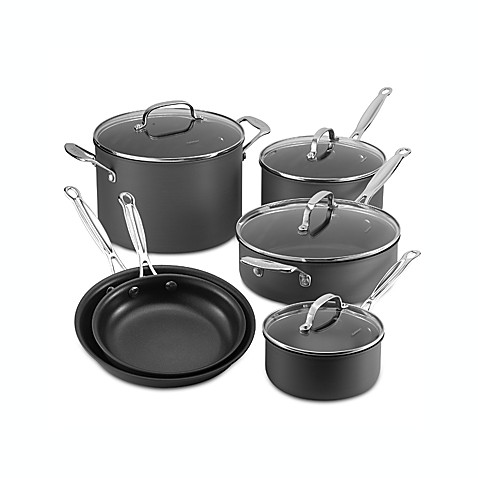 cuisinart chefu0027s classic nonstick hard anodized 10piece cookware set and - Cuisinart Pots And Pans