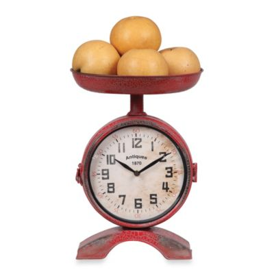 Creative Co Op Metal Clock Scale In Red