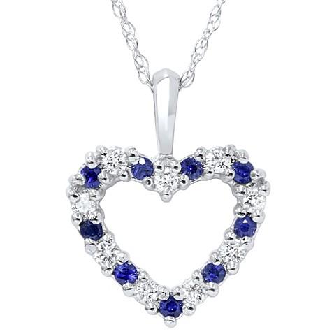 14k white gold blue sapphire and diamond heart pendant bed bath 14k white gold blue sapphire and diamond heart pendant aloadofball Image collections