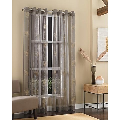 J Queen New York Islander Sheer Grommet Window Curtain Panel In Natural Bed Bath Beyond