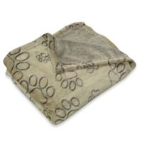 Pawslife™ Ultra Plush Embossed Paws Pet Blanket in Taupe