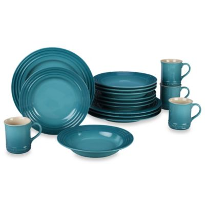 Le Creuset® 16-Piece Dinnerware Set in Caribbean  sc 1 st  Bed Bath \u0026 Beyond & Buy Dishwasher Microwave Oven Freezer Safe Dinnerware from Bed Bath ...