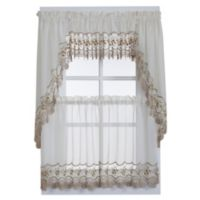 Vintage Sheer 24-Inch Window Curtain Tier Pairs in Ecru/Gold