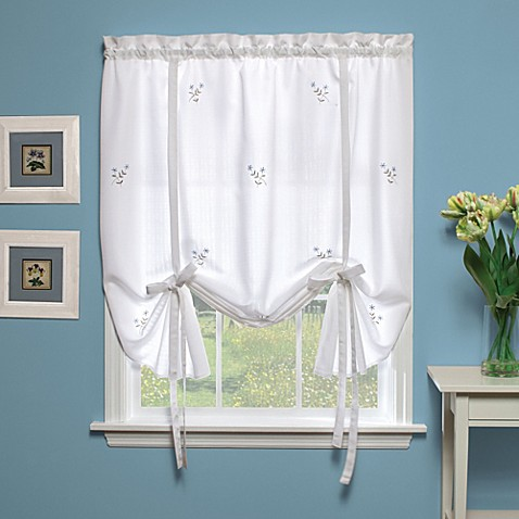 Buy Forget-Me-Not 63-Inch Tie-Up Shade in White/Blue from ...