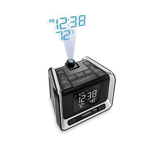 """alarm clock projects time ceiling Onlyee projection ceiling wall clock, am fm radio alarm clock, 7"""" led   mesqool 7 projection alarm clock for bedrooms, ceiling, kitchen, desk, shelf,  wall."""