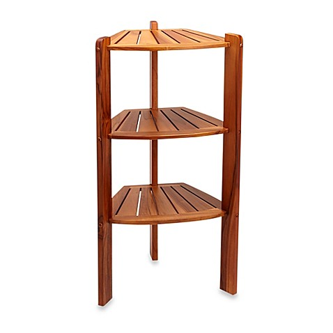Buy taymor teak 3 shelf corner caddy stand from bed bath for Caddy corner bed