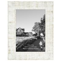 Rustic Impressions 5-Inch x 7-Inch Textured Wood Picture Frame in White