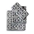 Colordrift Lattice Grey Bath Towel