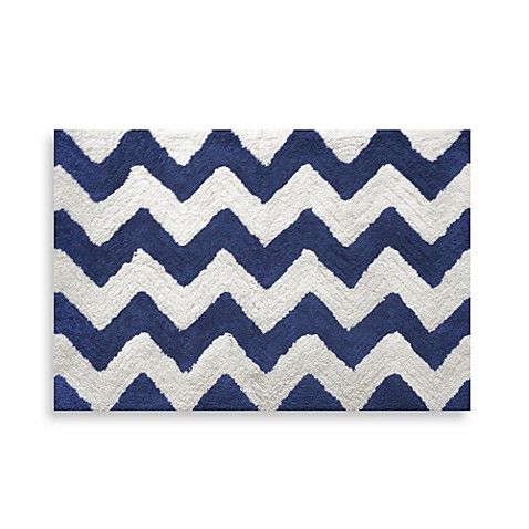 Chevron Navy 20 Inch X 30 Inch Bath Rug Bed Bath Beyond
