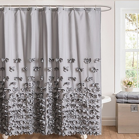 Juliet Bow 54 Inch X 78 Inch Shower Curtain In Grey Bed