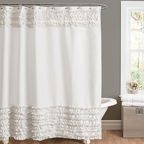 Amelie Ruffle 72 Inch X 84 Shower Curtain In White