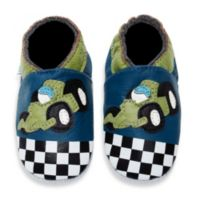 MomoBaby Size 0 - 6 Months Soft Sole Leather Sneakers in Race Car Navy