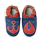 MomoBaby Size 0 - 6 Months Soft Sole Leather Sneakers in Nautical Navy