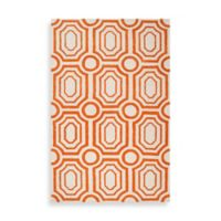 angelo:HOME Hudson Park Geometric Rug 3-Foot 3-Inch x 5-Foot 3-Inch in Orange/White