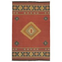 Surya Beja 5-Foot x 8-Foot Rug in Red Clay/Gold/Aquamarine