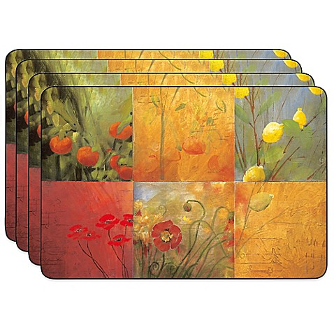 Jason Citrus Garden Hardboard Cork Backed Placemats Set
