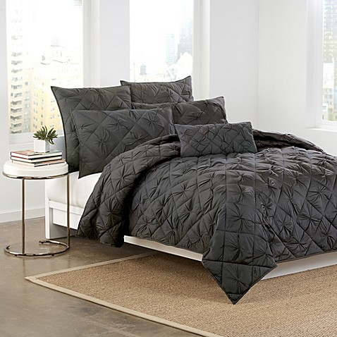 Buy DKNY Diamond Tuck King Quilt in Charcoal from Bed Bath & Beyond
