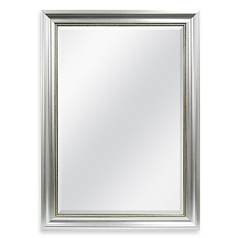 Decorative x large wall mirror in silver bed bath beyond for Silver framed bathroom mirrors