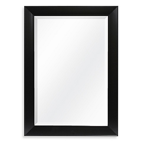 Decorative x wall mirror in black bed bath beyond for Black framed mirrors for bathroom