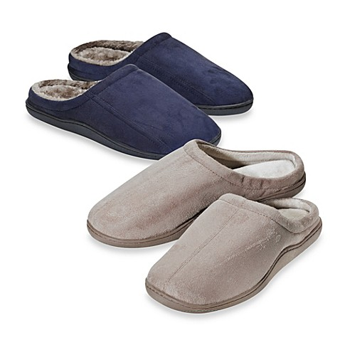 Men S Memory Foam Slippers Bed Bath And Beyond