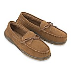 Men's Rockport Suede Moccasin Slipper in Cinnamon