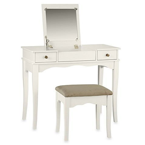 linon home decor corner vanity set linon home kendal vanity set in white bed bath amp beyond 13511
