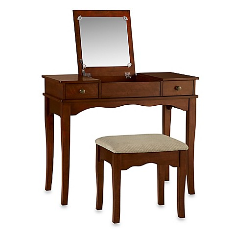 Linon home kendal vanity set in walnut bed bath beyond - Bed bath and beyond bathroom vanity ...