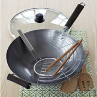 IMUSA® 7-Piece Natural Carbon Steel Wok Set