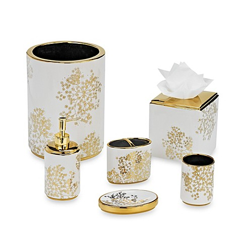 Laura ashley eleanora gold cream bathroom accessories for Cream bathroom accessories