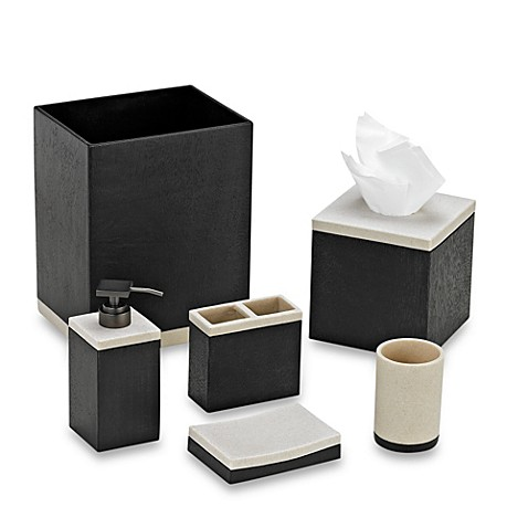 Kenneth cole reaction home landscape bathroom accessories for Black bath accessories sets