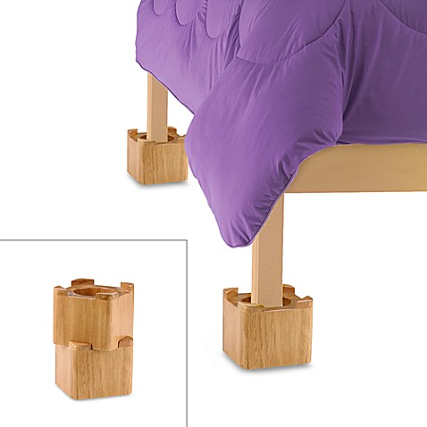 Blond Wooden Bed Lifts Set Of 4 Bed Bath Amp Beyond