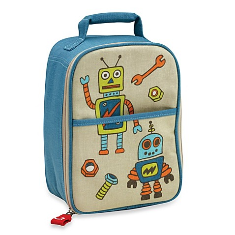 sugarbooger by o r e zippee lunch tote in retro robot buybuy baby. Black Bedroom Furniture Sets. Home Design Ideas