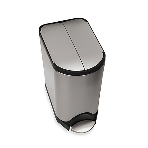 simplehuman brushed stainless steel fingerprint proof 20 liter butterfly step trash can bed. Black Bedroom Furniture Sets. Home Design Ideas