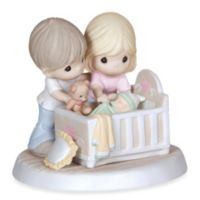 """Precious Moments® """"We're Glad You Came Into Our Lives"""" Parents With Baby In Crib Figurine"""