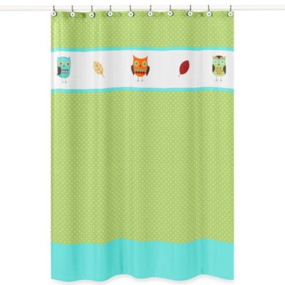 Sweet Jojo Designs Hooty Collection Shower Curtain In Turquoise Lime