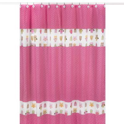 Sweet Jojo Designs Happy Owl Shower Curtain In Pink