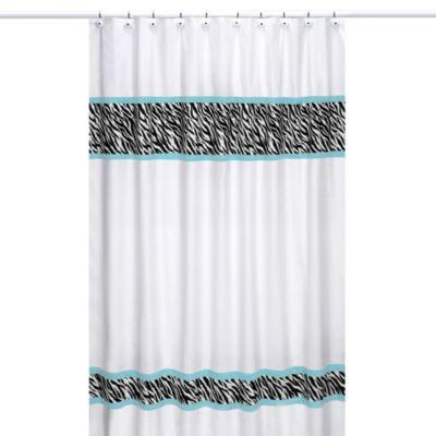 Sweet Jojo Designs Funky Zebra Shower Curtain In Turquoise