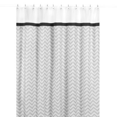 black white grey shower curtain. Sweet Jojo Designs Zig Zag Shower Curtain in Black and Grey Buy Curtains from Bed Bath  Beyond
