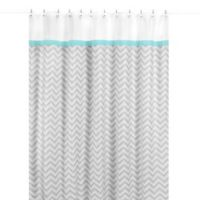 Sweet Jojo Designs Zig Zag Shower Curtain in Turquoise and Grey