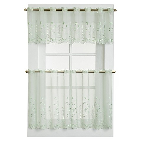 samantha sheer window curtain tier pairs in sage bed. Black Bedroom Furniture Sets. Home Design Ideas