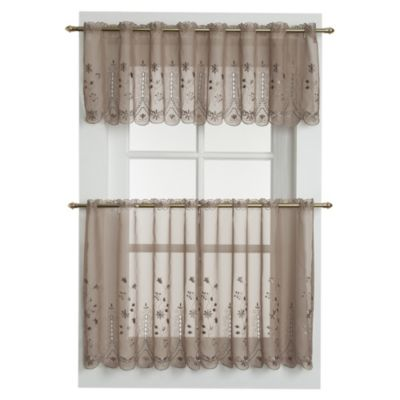 Samantha 36 Inch Sheer Window Curtain Tier Pair In Taupe