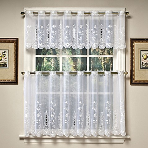 Buy Samantha 36Inch Sheer Window Curtain Tier Pairs in White from Bed Bath Beyond