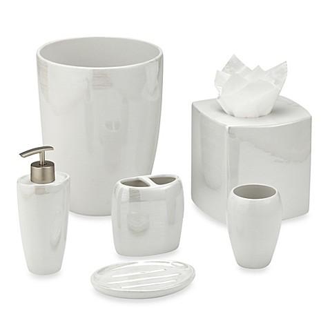 Akoya Pearlized Ceramic Bathroom Accessories In White