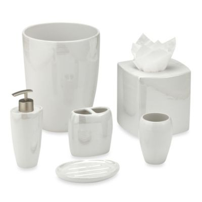 Akoya Pearlized Ceramic Bathroom Accessories in White Bed Bath